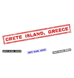 grunge crete island greece textured rectangle vector image
