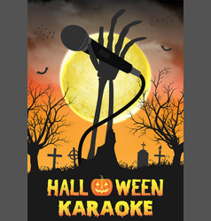 halloween zombie singing party in night graveyard vector image