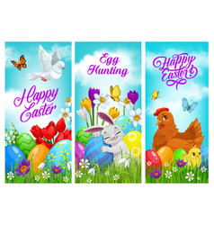 happy easter banners greeting cards set vector image