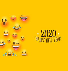 Happy new year 2020 social chat smiley face card vector