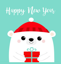 happy new year white polar bear head face holding vector image