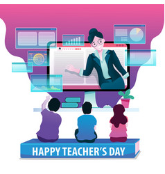 happy teachers day on digital lifecycle vector image