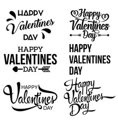 happy valentine day handwritten lettering set vector image