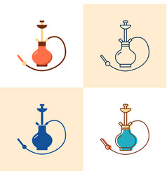 Hookah icon set in flat and line style vector