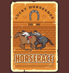 horserace and equestrian sport retro vector image