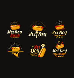 Hot dog food logo or label elements for design vector