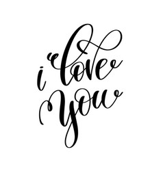 i love you black and white hand lettering vector image