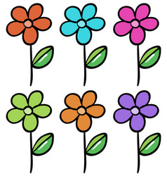 isolated set flower in different colors vector image