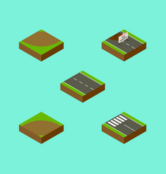 Isometric road set of repairs single-lane sand vector