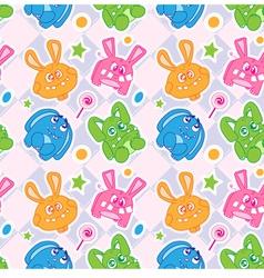 kids rabbit seamless wallpaper vector image