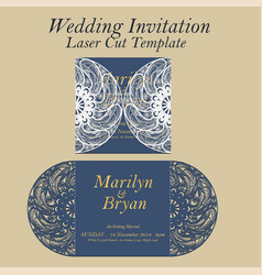 Laser cut wedding invitation or greeting vector