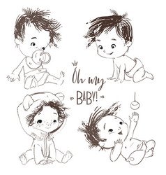 lovely set with cartoon little baby boy vector image