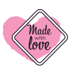 made with love isolated icon souvenirs and vector image