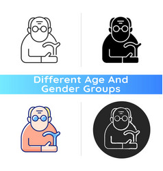 Male pensioner icon vector