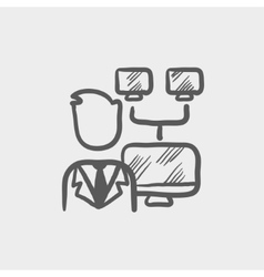 Man screen with camera sketch icon vector