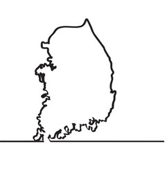 map of south korea continous line vector image