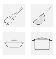 Moochrome icon set with cookware vector