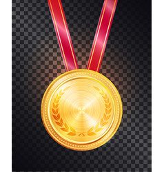Noble gold round medal on shiny glossy red ribbon vector