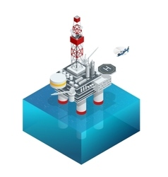 Oil and gas platform in the gulf or the sea The vector image
