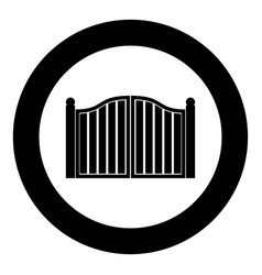 Old gate icon black color in circle round vector