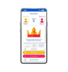 Online quiz game smartphone interface template vector