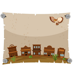 paper template with western town vector image