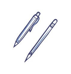 pen with ink and sharp pencil for writing vector image