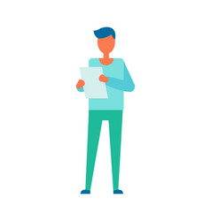 Person reading paper page vector