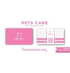 Pets care business card design vector