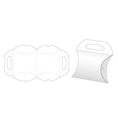 Pillow box and carried holder die cut template vector