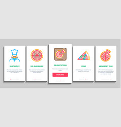 pizza delicious food onboarding elements icons set vector image