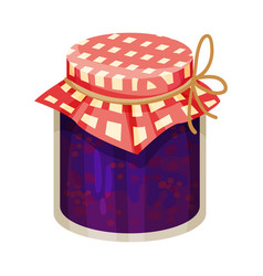 Plum jam poured in glass jar with paper cover vector