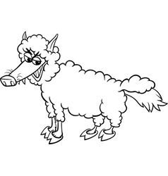 Saying wolf in sheeps clothing bw m vector