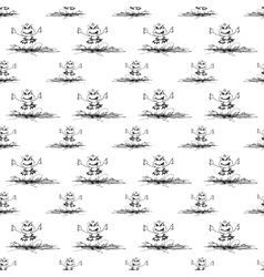 seamless pattern with frog and butterfly vector image