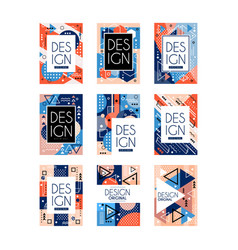 Set memphis style cards colorful abstract vector