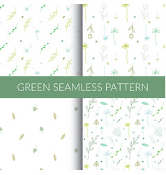 set of green seamless patterns vector image