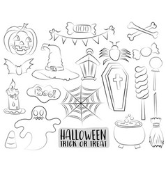 set of halloween design elements and icons in a vector image