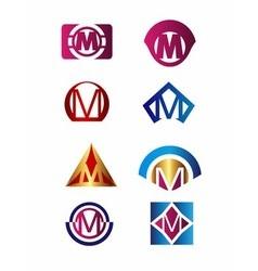 Set of letter M logo Branding Identity Corporate vector image