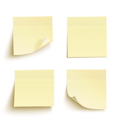 Set of yellow sticky notes vector