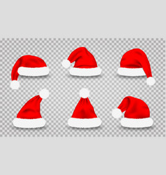 set santa claus hats realistic red santa vector image