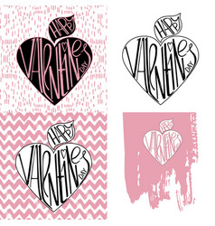 set valentine s day designs in black and pink vector image