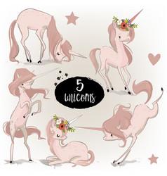 set with cartoon unicorns vector image