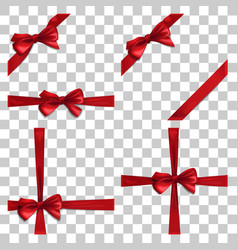 set with red bow and ribbon vector image