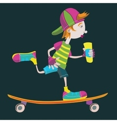 Skater teens isolated sketch on black vector image
