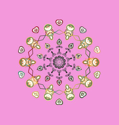Snowflake ornament on a pink background snowflake vector