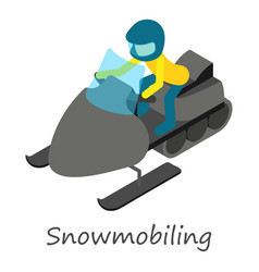snowmobiling icon isometric style vector image