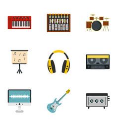Sound studio icon set flat style vector