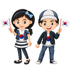 South korean boy and girl with flags vector