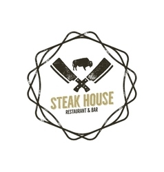 steak house vintage label with decorative vector image