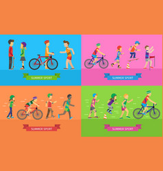 summer sport concepts in flat design vector image